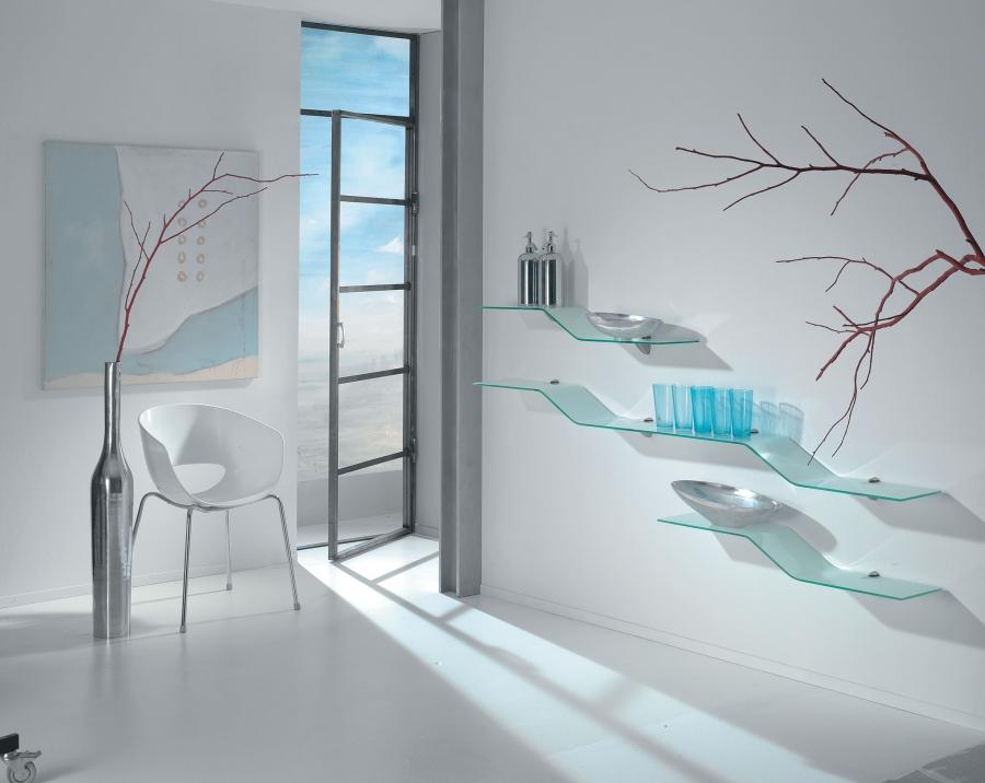 design glasregal onda gebogenes regal jetzt kaufen. Black Bedroom Furniture Sets. Home Design Ideas